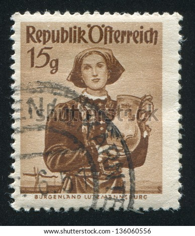 AUSTRIA - CIRCA 1948: stamp printed by Austria, shows Woman in Austian costumes, circa 1948