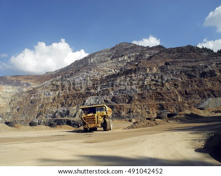 Austria, Erzberg - heavy vehicle for surface mining of iron ore in Styria