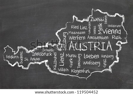 austria - europe on blackboard - stock photo