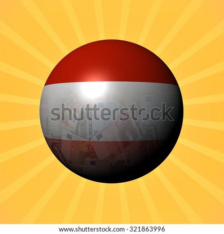 Austria flag euros sphere on sunburst illustration - stock photo