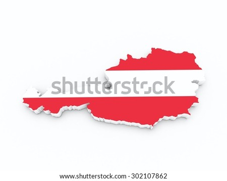 austria flag on 3d map