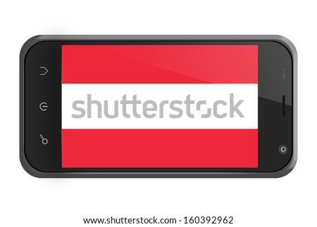 Austria flag on smartphone screen isolated on white - stock photo