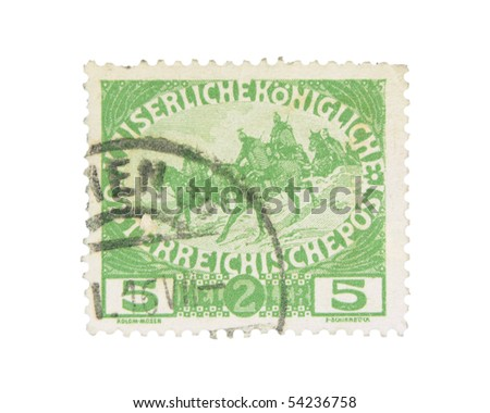 AUSTRIA-HUNGARY - CIRCA 1915: An extra pay stamp for benefit of war widows and orphans printed in Austria-Hungary, circa 1915