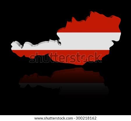 Austria map flag with reflection illustration - stock photo