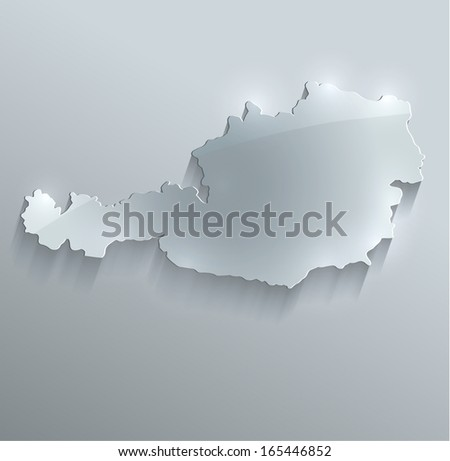Austria map glass card paper 3D raster - stock photo