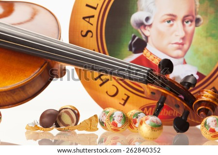 AUSTRIA - MARCH 10, 2015: Echte Salzburger Mozartkugen by Mirabell. Typical Austrian sweets, named after the composer Wolfgang Amadeus Mozart. - stock photo