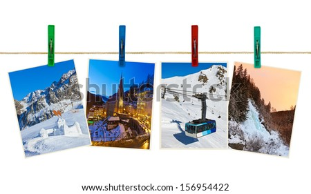 Austria mountains ski photography on clothespins isolated on white background - stock photo