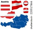 Austria set. Detailed country shape with region borders, flags and icons isolated on white background. - stock photo