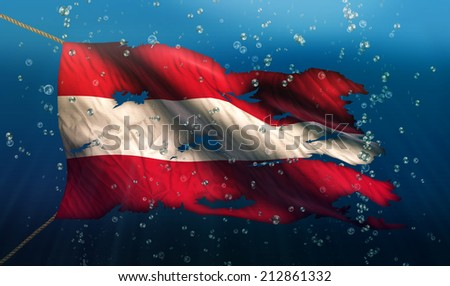Austria Under Water Sea Flag National Torn Bubble 3D - stock photo