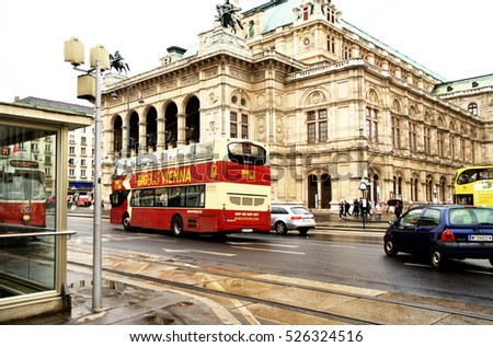 AUSTRIA. VIENNA - APRIL 18, 2016: Public transport on the background of the Vienna State Opera, which is among the three best opera houses in the world( project Gottfried Semper).