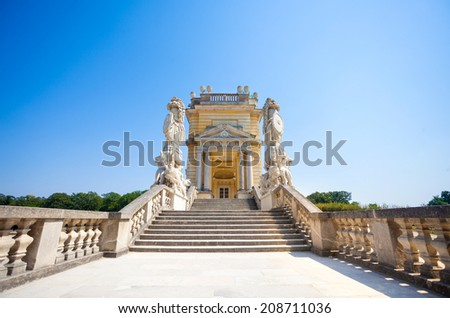 AUSTRIA, VIENNA - AUGUST 4, 2013: The Gloriette in Schoenbrunn Palace Garden, Vienna, Austria - stock photo