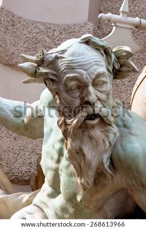 austria, vienna, hofburg, well. the power of the sea. was completed in 1895. rudolf weyr. - stock photo