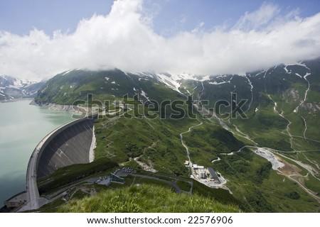 Austrian alps landscape - beautiful green alpine lake - stock photo