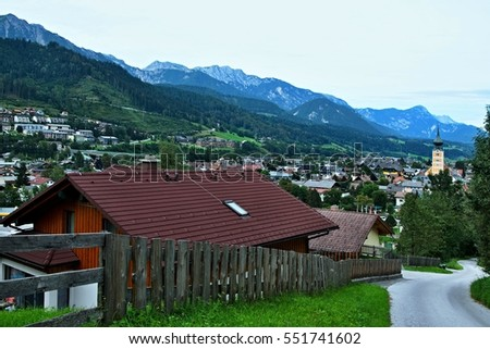 Austrian Alps-view of the town Schladming