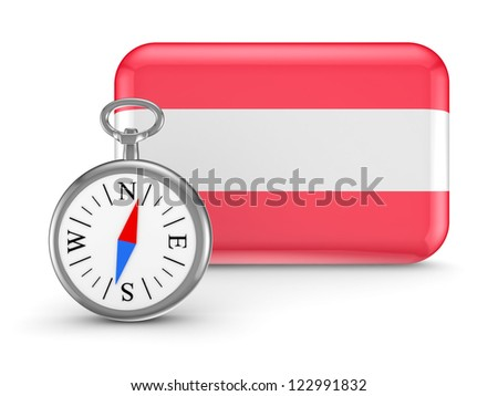 Austrian flag.Isolated on white background.3d rendered. - stock photo