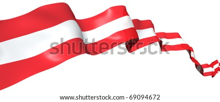 Austrian flag ribbon isolated on white. 3d concept illustration - stock photo