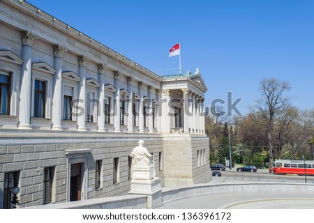 Austrian Parliament Building, Vienna, Austria. The architect responsible for its Greek revival style was Theophil Edvard Hansen. - stock photo