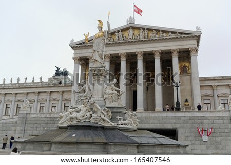 Austrian parliament, Vienna, is a sight at the ring road