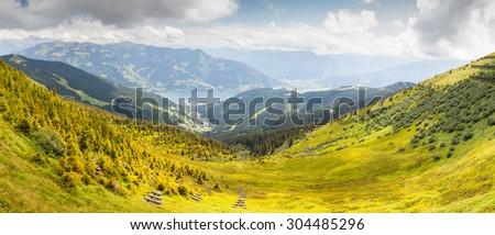 Austrian Tirol Alps landscape (neighbourhood of Zell am See) with mountains, forests, meadows and lake. - stock photo