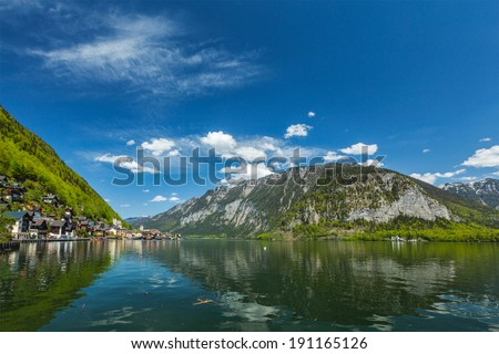 Austrian tourist destination Hallstatt village on  Hallst���¤tter See in Austrian alps. Salzkammergut region, Austria