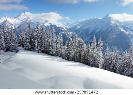Austrian winter landscape - stock photo