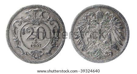 austro-hungarian coin of 1907 - stock photo