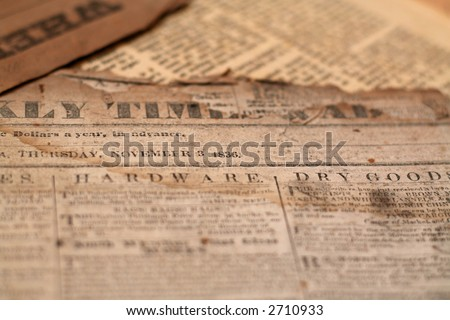 Authentic antique newspapers from the 1800's- tattered and torn with age