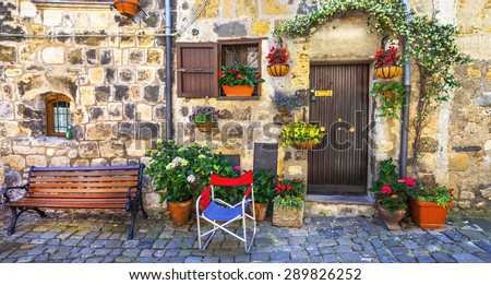 authentic charming streets of medieval villages of Italy,Bolsena - stock photo