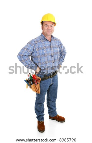 Authentic construction worker dressed for the job.  Full body isolated on white.