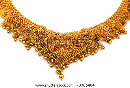 authentic indian jewellery isolated on a whiet background - stock photo
