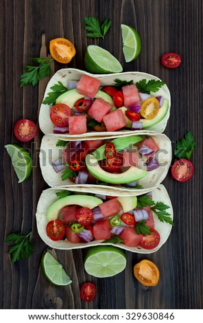 Authentic mexican grilled fish tacos with watermelon Pico de Gallo - stock photo