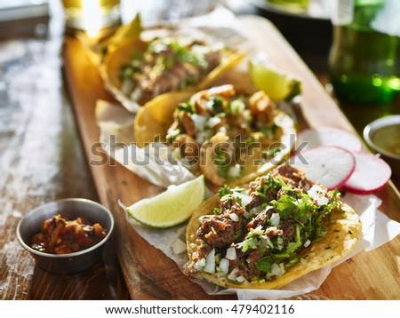 authentic mexican street tacos with different meats
