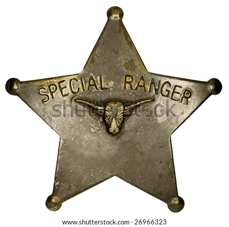 Authentic, old-fashioned badge of the Texas & S.W. Cattle Raisers Assoc. Special Rangers.