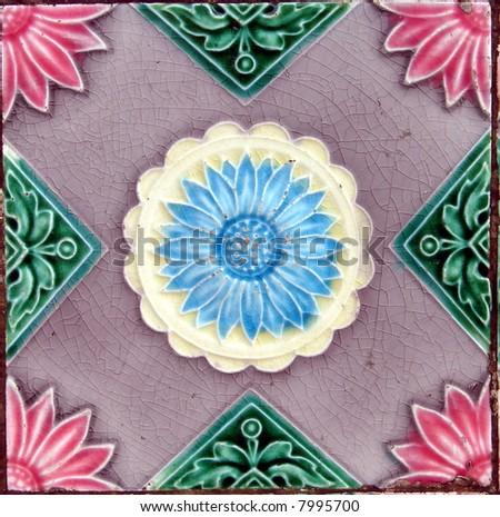 Authentic oriental flower tile background(repeatable) - stock photo