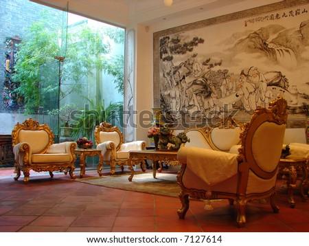 Authentic oriental mansion - stock photo