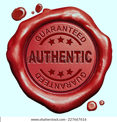 authentic product quality label authenticity guaranteed red wax seal stamp - stock photo