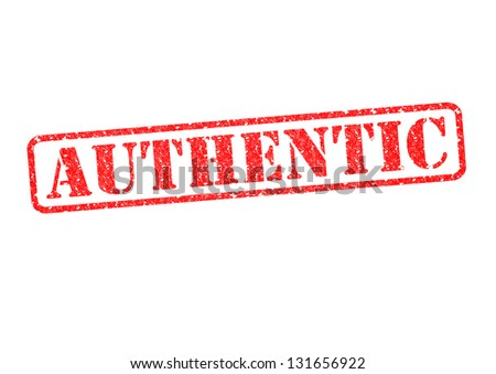 AUTHENTIC red rubber stamp over a white background. - stock photo