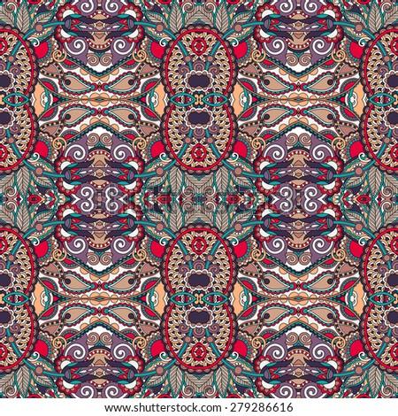 authentic seamless floral geometric pattern, ethnic ukrainian carpet ornamental background,  raster version illustration - stock photo