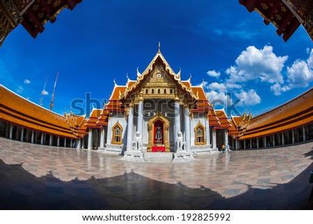 Authentic Thai Architecture in Wat Pho at Bangkok of Thailand,photo taken fisheye lens. - stock photo