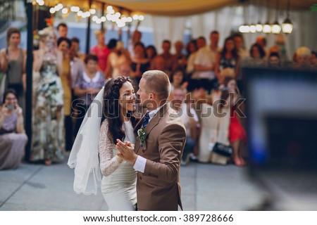 authentic wedding wonderful young couple with incredible scenery - stock photo