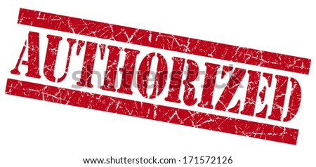 Authorized grunge red stamp - stock photo
