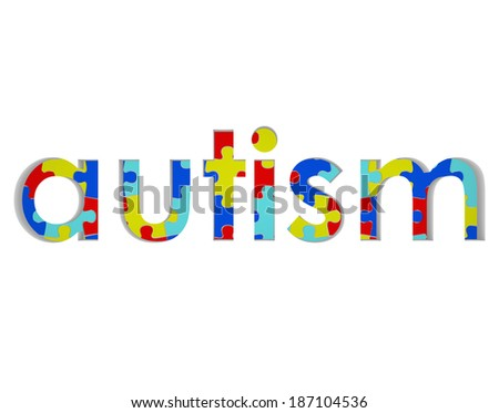 Autism Word Puzzle Pieces Background Hope Research - stock photo
