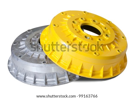 auto brake wheels. Isolated on white with clipping path - stock photo