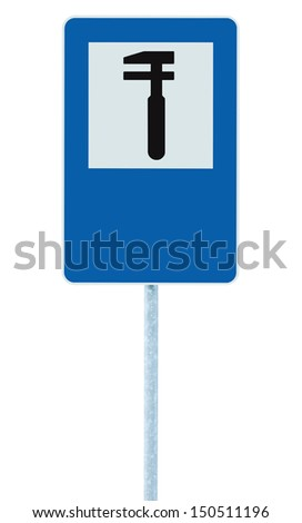 Auto Car Repair Shop Icon, Vehicle Mechanic Fix Service Garage Road Traffic Sign Roadside Pole Post Signage, Isolated, Blank Empty Copy Space - stock photo