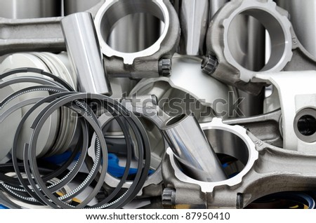 auto engine details - connecting rods, pistons, rings, cylinders, bushings - stock photo