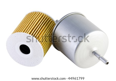auto fuel and oil filter - stock photo