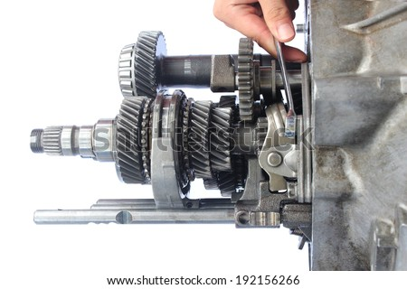 auto gearbox service on isolated background - stock photo
