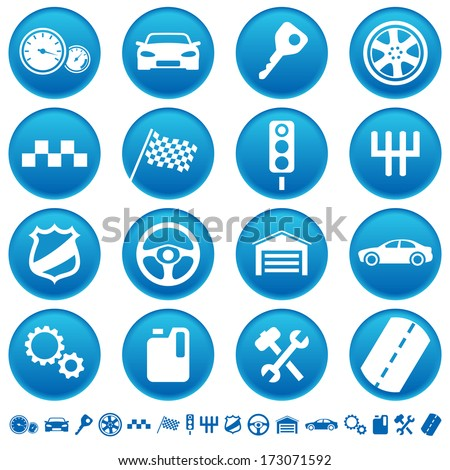 Auto icons. Raster version of EPS image 33733078 - stock photo