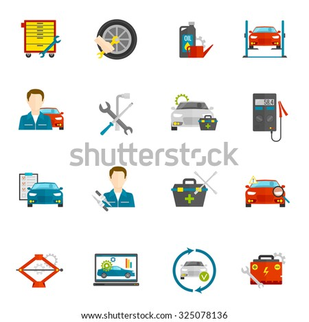 Auto mechanic and car repair flat icons set isolated  illustration - stock photo