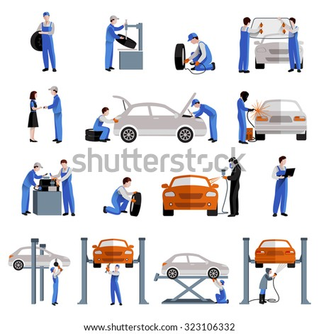 Auto mechanic car service repair and maintenance work icons set isolated  illustration - stock photo